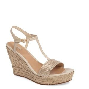 Ugg Espadrille Tan Wedge T Strap Open Toe Sandals